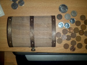 Coins and chest.